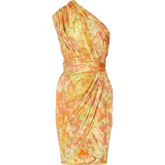 Lela Rose One-shoulder printed taffeta dress ($479) ❤ liked on Polyvore