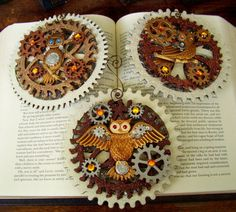 Steampunk Christmas Ornament (Xmas2012-5) - Owls and LARGE Layered Glittered Gears - 3 Piece Ornament Set