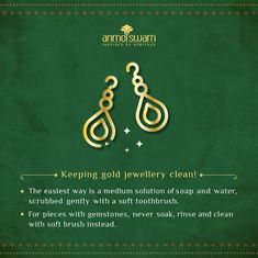Essential knowledge for the proper maintanance of your precious gold jewellery.  To know more, visitwww.anmolswarn.com  .  #anmolswarn #heritage #inspired #jewellery #jewelry #earrings #handmade #necklace #accessories #gold #silver #fashion #style #jewels #bracelet #ring #handmadejewelry #wedding #diamond #craftmanship #clean #safe #lockdown #quarantine #covid19 #stayhome #stayfit #stayhealthy Earrings Handmade, Handmade Jewelry, Stay Fit, Gold Jewellery, How To Stay Healthy, Knowledge, Cleaning, Gemstones, Jewels