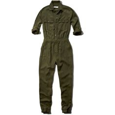 Abercrombie & Fitch Cargo Jumpsuit ($55) ❤ liked on Polyvore featuring jumpsuits, jumpsuit, dresses, bottoms, one pieces, outfit, olive, olive jumpsuit, abercrombie & fitch and military fashion