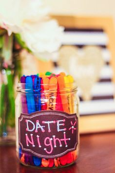 DIY Date Night Jar for 100 Great Dates - http://www.bigdiyideas.com/diy-date-night-jar-for-100-great-dates/ This page is from http://www.simplycarmenrenee.com/ – For some reason she removed this DIY page from her site; and we were linking to this article on our site. Rather than remove the link or leave a broken link, I have found a old cached version in Google of her orignial page. I will be ...