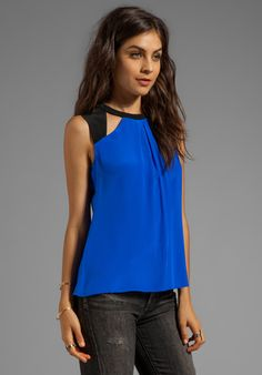 NANETTE LEPORE Sahara Silk Spice Top in Royal Blue - New