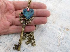 Long necklace Blue heart necklace key necklace by Gypsymoondesigns, $28.00