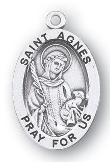 Sterling Silver Oval Shaped St. Agnes Medal by HMH | Catholic Shopping .com