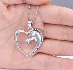 Hollow Heart Horse Pendant Necklace