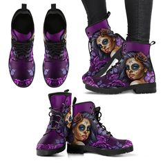You gotta love these Ladies Leather Calavera Boots. Sexy, sleek and sassy, these stylish and trendy air of boots will accentuate anything with its rocker-style, Leather Men, Vegan Leather, Leather Boots, Brown Leather, Goth Boots, Sugar Skull Girl, Purple Boots, Vegan Boots, Rubber Rain Boots