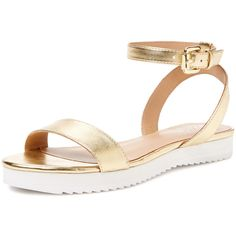 Elorie Rory Two Piece Flatform Sandal ($35) ❤ liked on Polyvore featuring shoes, sandals, flats, gold, leather shoes, leather flat shoes, metallic flats, flatform shoes and ankle wrap sandals