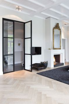 the best interior with herringbone floor - everything to make your home your home . Living Room Inspiration, Interior Inspiration, Home Interior, Interior Design, Home Design, Salon Design, Steel Doors, Home Living Room, Family Room