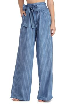 Tied Over Stripes Chambray Pants Women's Fashion Dresses, Fashion Pants, Hijab Fashion, Trousers Women, Pants For Women, Pretty Outfits, Cool Outfits, Dressy Pants, Summer Outfits Women