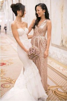 Custom Made 2015 Rose Gold Sequin Bridesmaids Dresses Plus Size Maid Of Honor Handmade Real Photo Champagne Bridesmaid Dresses-in Bridesmaid Dresses from Weddings & Events on Aliexpress.com | Alibaba Group