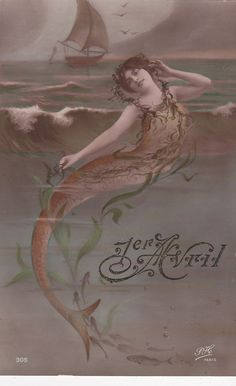 Belle Epoque Mermaid Emerges From The Sea...circa 1908