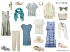 Beige, blue and soft teal summer travel capsule wardrobe.
