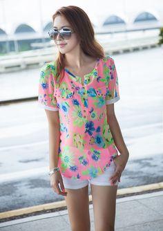 10 USD - pink Floral Tops, Blouses, Pink, Women, Fashion, Moda, Top Flowers, Women's, La Mode