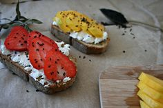get some coconuts: bread, cottage cheese and fresh fruit