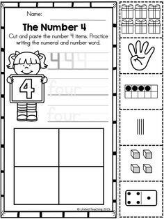 Number Sense Cut and Paste No Prep worksheets. Children cut and paste matching number representations and practice writing the numeral and number word.