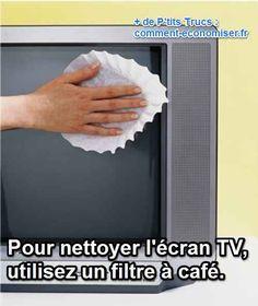 Comme peut le faire un papier journal pour nettoyer vos carreaux, le filtre à café va vous débarrasser aussi des petites taches que vous pouvez voir sur votre écran lorsqu'il est éteint.  Découvrez l'astuce ici : http://www.comment-economiser.fr/nettoyer-ecran-tv.html?utm_content=bufferb076e&utm_medium=social&utm_source=pinterest.com&utm_campaign=buffer