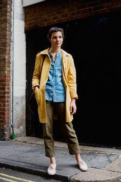 Denim shirt with yellow jacket