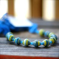 Lime/Blue Necklace from paper beads