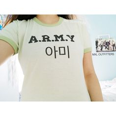 Army Bts Ringer Tee ($20) ❤ liked on Polyvore featuring tops, t-shirts, silver, women's clothing, lightweight shirt, beach tops, tee-shirt, army top and army shirts