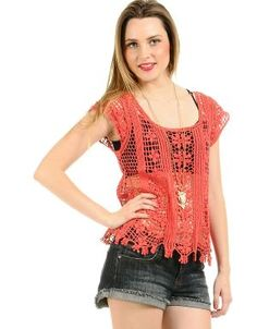 Crotchet top Coral