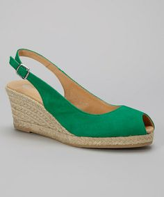 Loving this Green Nub Linette Leather Wedge on #zulily! #zulilyfinds