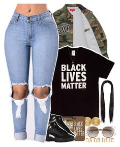 """""""#BlackLivesMatter - No. 632"""" by dessboo ❤ liked on Polyvore featuring Versace, Gucci, Maison Margiela and Christian Dior"""