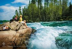 Roar of the Nistowiak Falls in Lac La Ronge Provincial Park, can bereached by canoe only! Tourism Saskatchewan, Places To Travel, Places To See, Western Canada, O Canada, Canoe Trip, Canoeing, Vacation Destinations, Biking