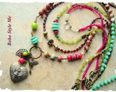 Bohemian Necklace Colorful Beadwork Necklace by BohoStyleMe