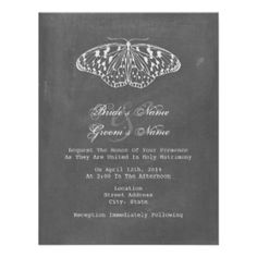 A wedding invitation featuring a chalkboard inspired background on both sides. Illustration of butterfly at top. Wording is from bride and groom together with their parents. Butterfly Wedding Invitations, Chalkboard Wedding Invitations, Couples Shower Invitations, Affordable Wedding Invitations, Country Wedding Invitations, Engagement Party Invitations, Beautiful Wedding Invitations, Elegant Wedding Invitations, Invitation Cards