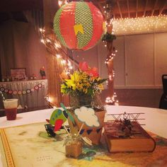 Planes, Trains, and Automobiles themed baby boy shower: hot air balloon centerpiece