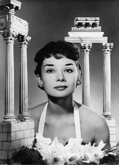Advertising photograph by Angus McBean of Audrey Hepburn for Lacto-Calamine in the Manchester Daily Express, October 1950.
