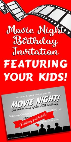 Movie Night birthday party invitation.  This is great for older kids, or even adults! Available at Melinda Bryant Party Boutique on Etsy. Click on the photo for details.