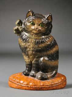 Polychrome-painted Cast Iron Cat Doorstop - America, early 20th century