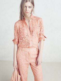 J.Crew Collection lightweight utility jacket, Collection French lace shirt and Collection lace pant in dusty blossom.: