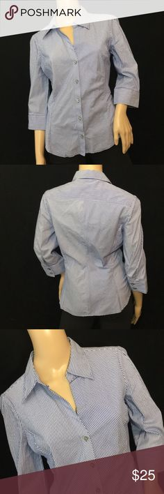 Express Button Up Dress Shirt • Sz M Blue with white pin stripe detail • Button Up closure • Pearl/Gray buttons • Size M • Great for business attire • No issues with top, in perfect condition Express Tops Button Down Shirts