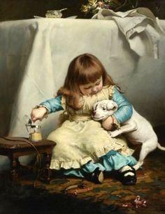 """Once Bit, Twice Shy"" by Charles Burton Barber (1845 – 1894, English)"