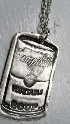 inspires using art stamps to create clay pendants painted silver?  could that work? Metal Clay Jewelry, Polymer Clay Jewelry, Clay Projects, Clay Crafts, Campbell's Soup Cans, Clay Stamps, Metallic Paint, Art Plastique, Elementary Art