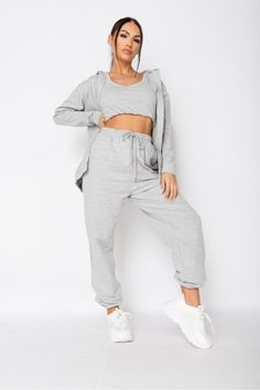 Work from home then head out on the town in this 3 piece loungewear set. Casual comfort turned streetwear. 3 piece loungewear set Crop vest & hoody Jogger bottoms Regular fit 85% cotton 12% polyester 3% elastane Machine washable Give back to the homeless community Size 10 Models, Size Model, Cozy Fashion, Winter Fashion, Winter Wardrobe Essentials, Loungewear Set, Grey Hoodie, Lounge Wear, Joggers