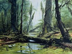 Carboniferous scene, Luděk Pešek Green conquered the earth. Horsetails, scale trees, seed ferns, lycopsids, and quillworts—verdant things reaching for light, spilling seeds and spores, spreading their empire, evangelizing photosynthesis and the...