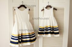 But maybe too white with my dress? Cotton Navy Blue/Gold Strips Flower Girl Dress by knothouses I Dress, Baby Dress, Blue Gold, Navy Blue, Junior Bridesmaid Dresses, Bridesmaids, Girly Girl, Kids Outfits, Kids Fashion