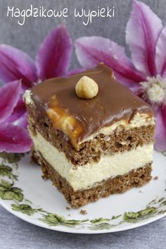 Kostka orzechowa Crepe Cake, Yule Log, Polish Recipes, Specialty Cakes, Strudel, Cake Recipes, Deserts, Food And Drink, Coconut