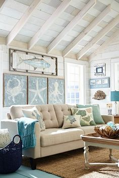 Are you planning on redecorating or redesigning your living room? If so, what kind of style that you want to adopt for your new living room design? Well, you should consider to have coastal living room design. Beach Living Room, Coastal Living Rooms, New Living Room, Living Room Furniture, Beach Room, House Furniture, Bedroom Beach, Coastal Bedrooms, Rustic Furniture