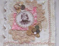 Shabby Chic mezclado Media tela Collage libro por KISoriginals