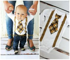 Baby Boy Tie and Suspenders Bodysuit. Tie Suspenders look is in.
