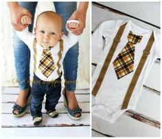 Baby Boy Tie and Suspenders Bodysuit. Tie Suspenders look is in.