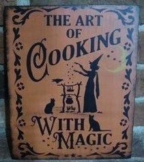 Primitive Witch witches kitchen sign Signs The Art of Cooking with Magic halloween decorations witchcraft black cats folk art custom wicca by SleepyHollowPrims, $27.00 USD