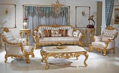 Kral classic sofa set reel wood handmade golden leaf with different size and fabric options. Furniture, Home Room Design, Sofa Layout, Classic Sofa Sets, Royal Furniture, Classic Sofa, Classic Sofa Living Room, Sofa Set, Living Room Decor Modern