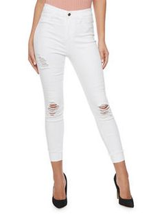 Cello Distressed Mid Rise Cuffed Denim Jeans - 1074063151436