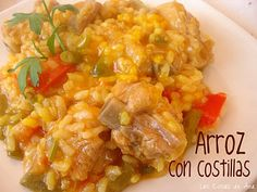 Arroz con costillas Mexican Food Recipes, Ethnic Recipes, Quinoa, Risotto, Rice, Chicken, Meat, Baby Shower, Spanish Food