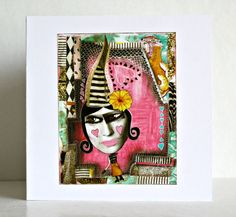 Whimsical mixed media greeting card with girl with by ThisRosyLife